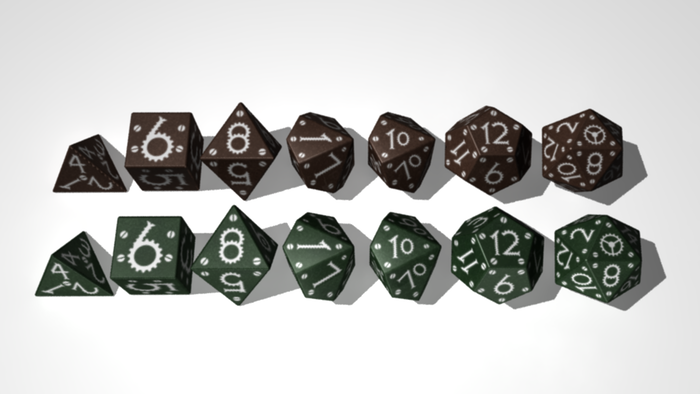 polyhedral dice with a steampunk theme